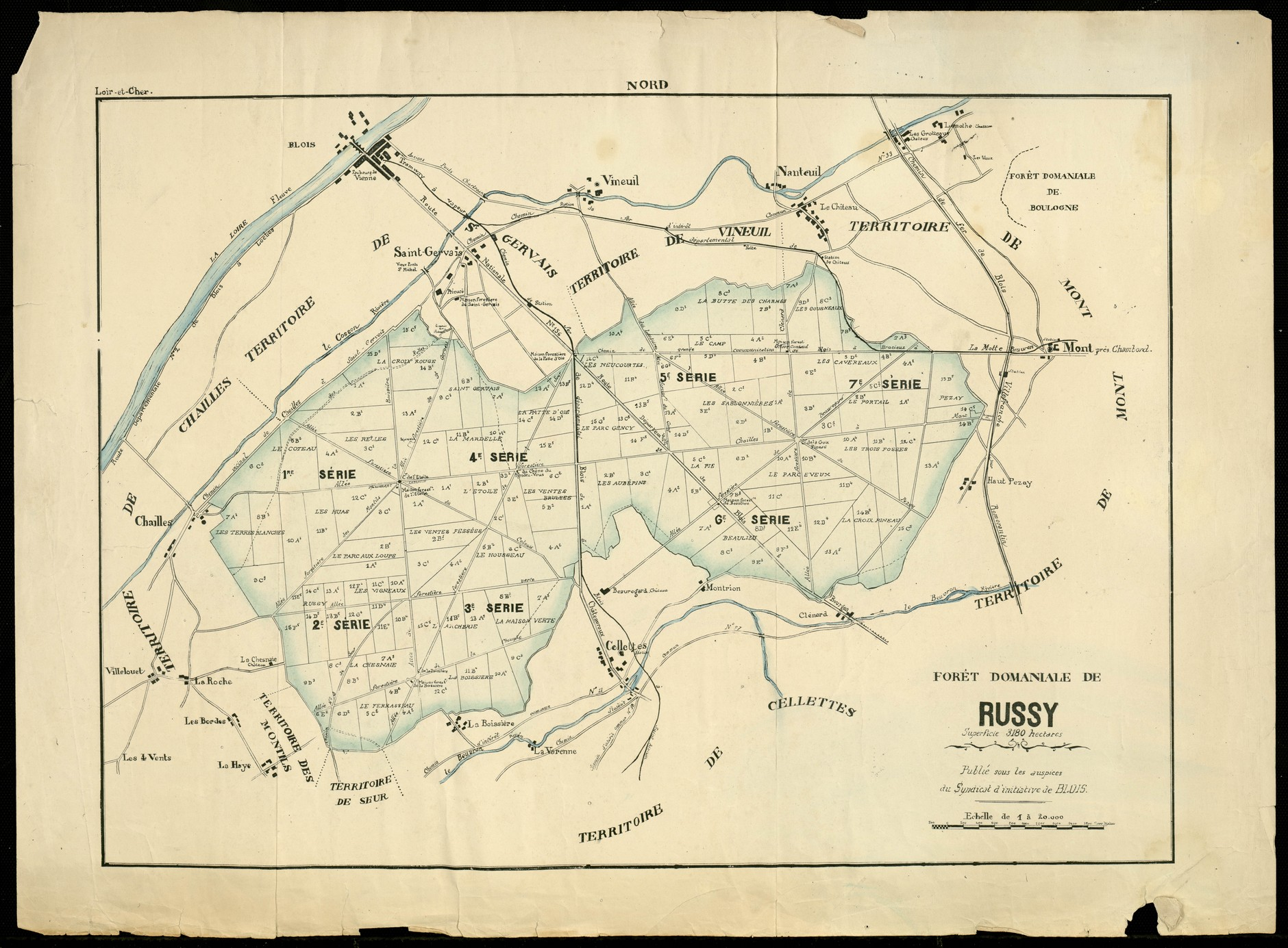Plan de la forêt de Russy, Syndicat d'initiative de Blois, ca 1920